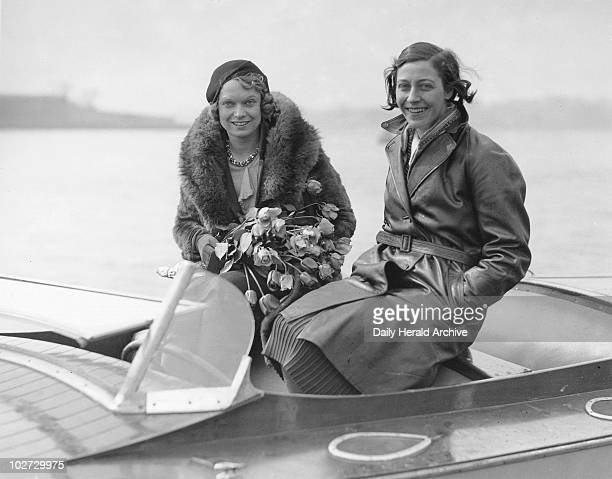 Amy Johnson and Anna Neagle Welsh Harp Hendon 1 April 1931 The opening of the speedboat season Amy Johnson English aviator was the first woman to...