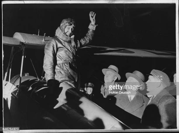 Amy Johnson arrives in Berlin before she flies to China via Siberia