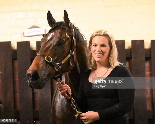 Amy Johnston with Ballinaclash after winning Simpson Construction Handicap at Moonee Valley Racecourse on September 23 2016 in Moonee Ponds Australia