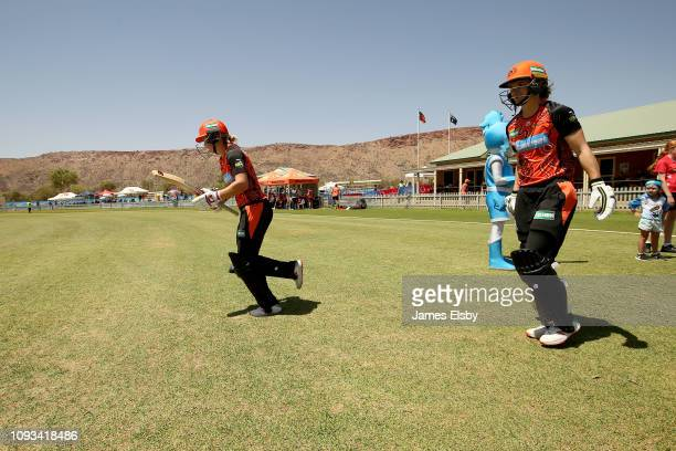 Amy Jones and Meg Lanning of the Scorchers open the batting during the Women's Big Bash League match between the Perth Scorchers and the Adelaide...