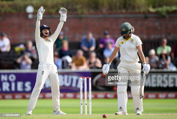 Amy Jones of England appeals for the wicket of Ellyse Perry of Australia during Day Four of the Kia Women's Test Match between England Women and...