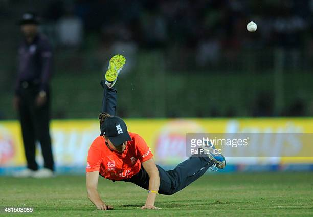 Amy Jones of England attempts a catch for the wicket of Yasoda Mendis during the ICC Women's World Twenty20 Match between England Women and Sri Lanka...