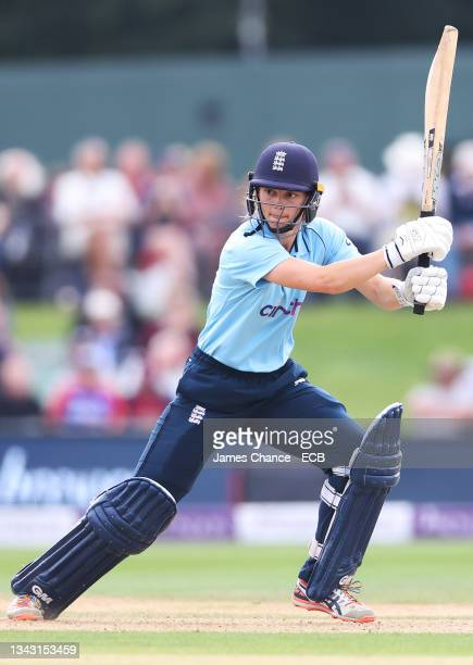 Amy Jones of England bats during the 5th One Day International match between England and New Zealand at The Spitfire Ground on September 26, 2021 in...