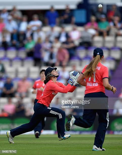 Amy Jones of England catches out Pakistan captain Bismah Maroof ahead of the 2nd Natwest International T20 match between England and Pakistan at...