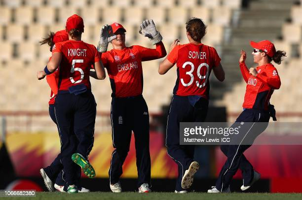 Amy Jones of England celebrates catching Fargana Hoque of Bangladesh off the bowling of Natalie Sciver of England during the ICC Women's World T20...