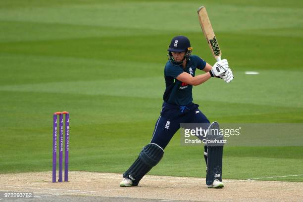 Amy Jones of England hits out during the ICC Women's Championship 2nd ODI match between England Women and South Africa Women at The 1st Central...