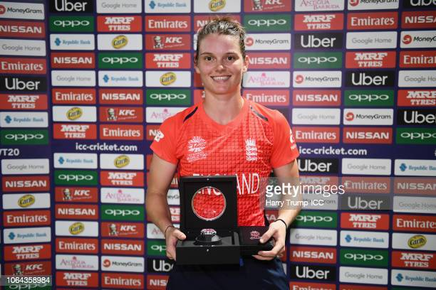 Amy Jones of England poses after being named player of the match during the ICC Women's World T20 2018 SemiFinal match between England and India at...