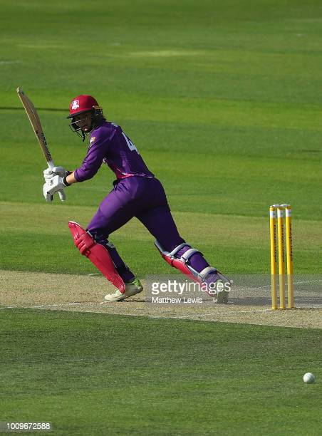 Amy Jones of Loughborough Lightning edges the ball towards the boundary during the Kia Super League match between Loughborough Lightning and Surrey...