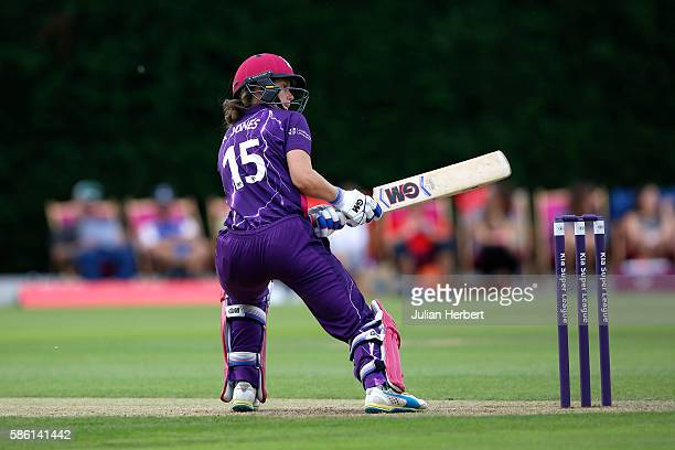 Amy Jones of Loughborough Lightning hits out during the Kia Super League women's cricket match between Loughbrough Lightning and Western Storm at The...