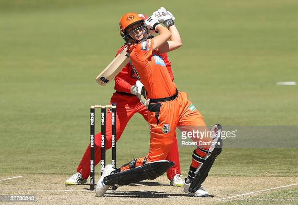 Amy Jones of the Perth Scorchers bats during the Women's Big Bash League match between the Melbourne Renegades and the Perth Scorchers at CitiPower...