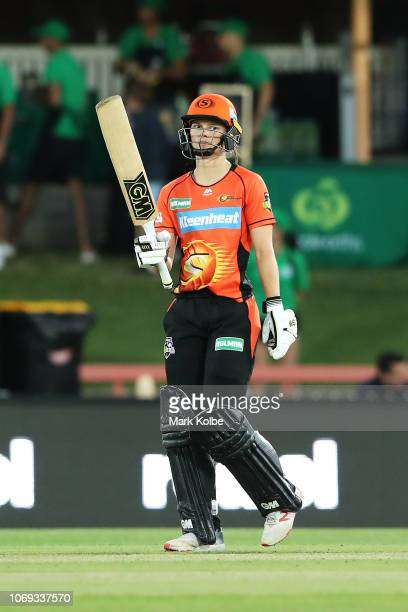 Amy Jones of the Scorchers celebrates her half century during the Women's Big Bash League match between the Sydney Sixers and the Perth Scorchers at...
