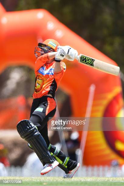 Amy Jones of The Scorchers plays a shot during the Women's Big Bash League match between the Perth Scorchers and the Sydney Thunder at Lilac Hill on...