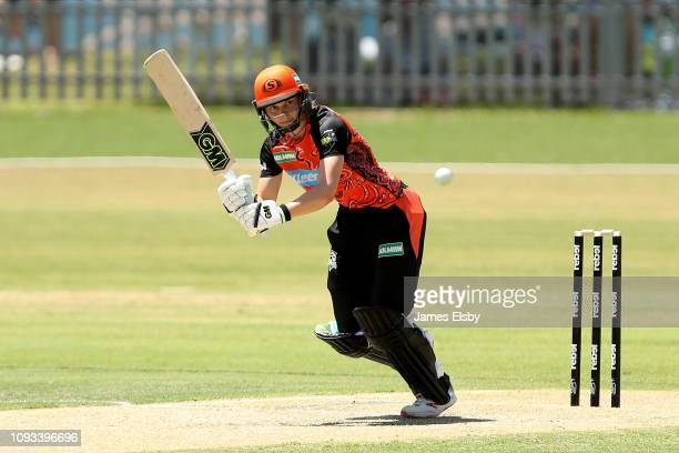 Amy Jones of the Scorchers plays a shot during the Women's Big Bash League match between the Perth Scorchers and the Adelaide Strikers at Traeger...