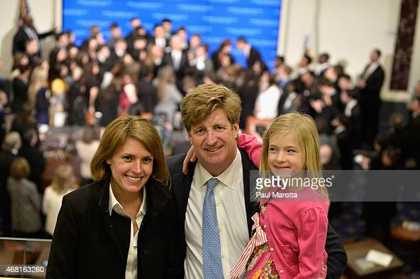Amy Kennedy Patrick Kennedy and Harper Petitgout attend the Senate Chamber Dedication Ceremony in the the full scale replica of the United States...