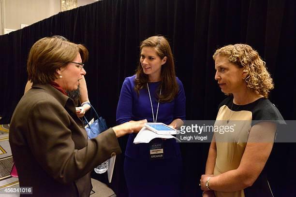 Amy Klobuchar, Erin Burnett and Debbie Wasserman Schultz, speak onstage at the 2014 Concordia Summit - Day 1 at Grand Hyatt New York on September 29,...