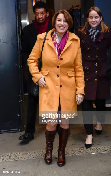 Amy Klobuchar is seen walking in outside of good morning america on February 11 2019 in New York City