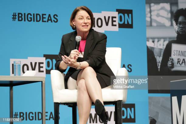 Amy Klobuchar speaks onstage at the MoveOn Big Ideas Forum at The Warfield Theatre on June 01 2019 in San Francisco California