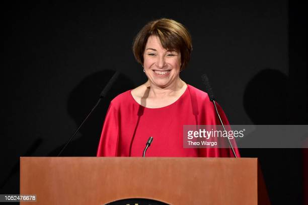 Amy Klobuchar speaks onstage during the 2018 DGA Honors Show at DGA Theatre on October 18 2018 in New York City