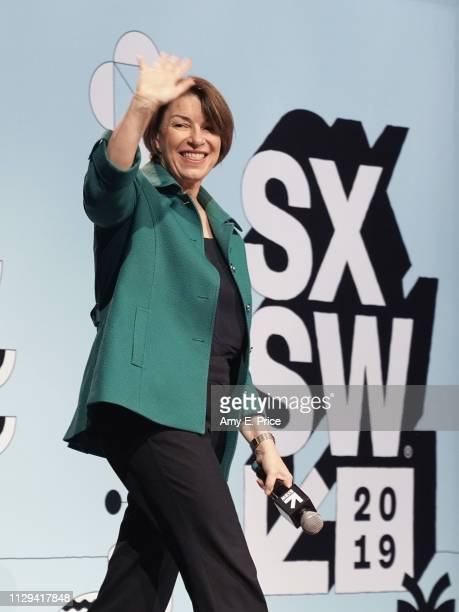 Amy Klobuchar walks onstage at Conversations About America's Future Senator Amy Klobuchar during the 2019 SXSW Conference and Festivals at Austin...
