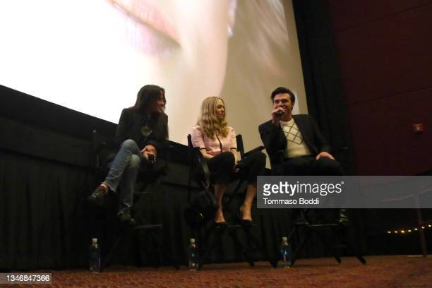 """Amy Koppelman, Amanda Seyfried and Finn Wittrock attend the """"A Mouthful Of Air"""" Q&A with Amanda Seyfried, cast and filmmakers at AMC Century City 15..."""