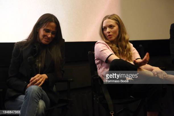 """Amy Koppelman and Amanda Seyfried attend the """"A Mouthful Of Air"""" Q&A with Amanda Seyfried, cast and filmmakers at AMC Century City 15 on October 15,..."""