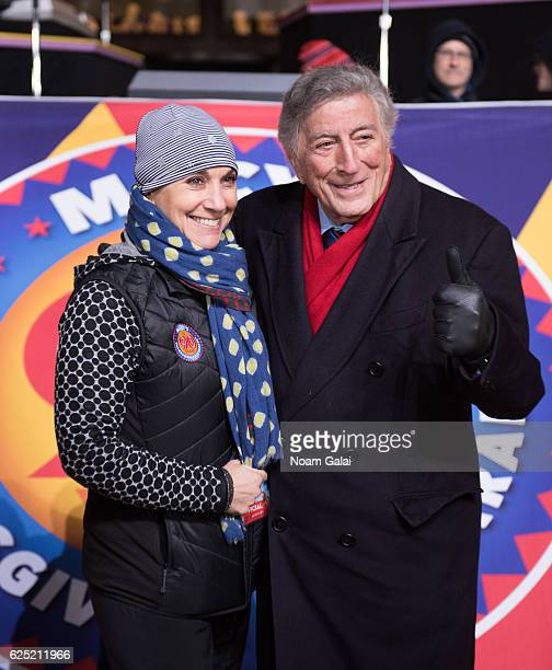 Amy Kule and singer Tony Bennett attend the 90th anniversary Macy's Thanksgiving day parade rehearsals at Macy's Herald Square on November 22 2016 in...