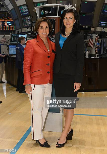Amy Kule Executive Producer of Macy's 4th of July Fireworks and Miss America 2012 Laura Kaeppeler ring the closing bell at the New York Stock...