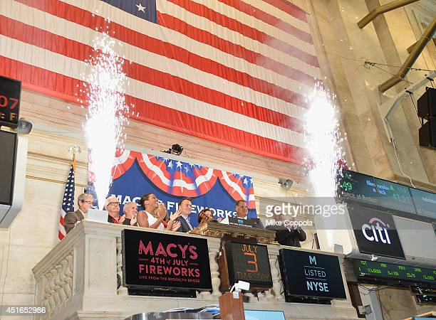 Amy Kule Executive Producer of Macy's 4th of July Fireworks rings the closing bell at the New York Stock Exchange on July 3 2014 in New York City