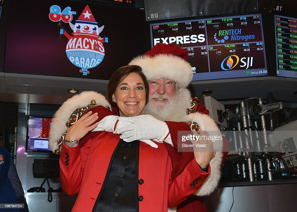 Amy Kule, Executive Producer of Macy's Thanksgiving Day Parade and Santa Claus visit the New York Stock Exchange on November 21, 2012 in New York City.