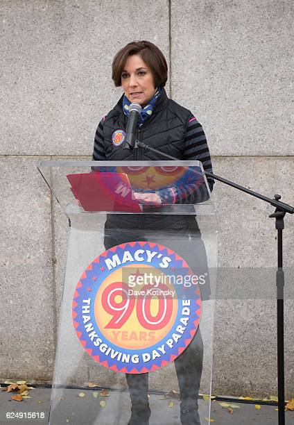 Amy Kule speaks at the Macy's Unveiling of the Starting Line Plaque On The Upper West Side Of New York City To Commemorate The 90th Macy's...