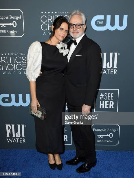 Amy Landecker and Bradley Whitford attend the 25th Annual Critics' Choice Awards at Barker Hangar on January 12, 2020 in Santa Monica, California.