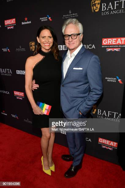 Amy Landecker and Bradley Whitford attend The BAFTA Los Angeles Tea Party at Four Seasons Hotel Los Angeles at Beverly Hills on January 6 2018 in Los...