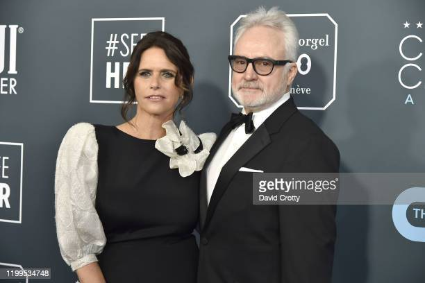 Amy Landecker and Bradley Whitford during the arrivals for the 25th Annual Critics' Choice Awards at Barker Hangar on January 12 2020 in Santa Monica...