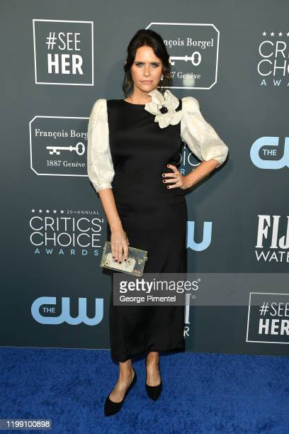 Amy Landecker attends the 25th Annual Critics' Choice Awards held at Barker Hangar on January 12 2020 in Santa Monica California