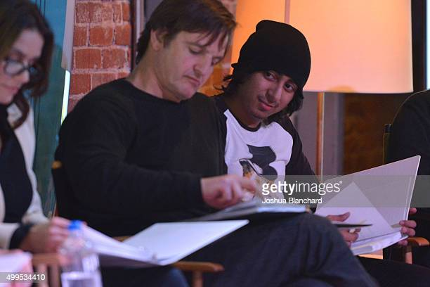 Amy Landecker William Mapother and Tony Revolori attend the Sundance Institute Black Bats screenplay reading at The Microsoft Lounge on December 1...