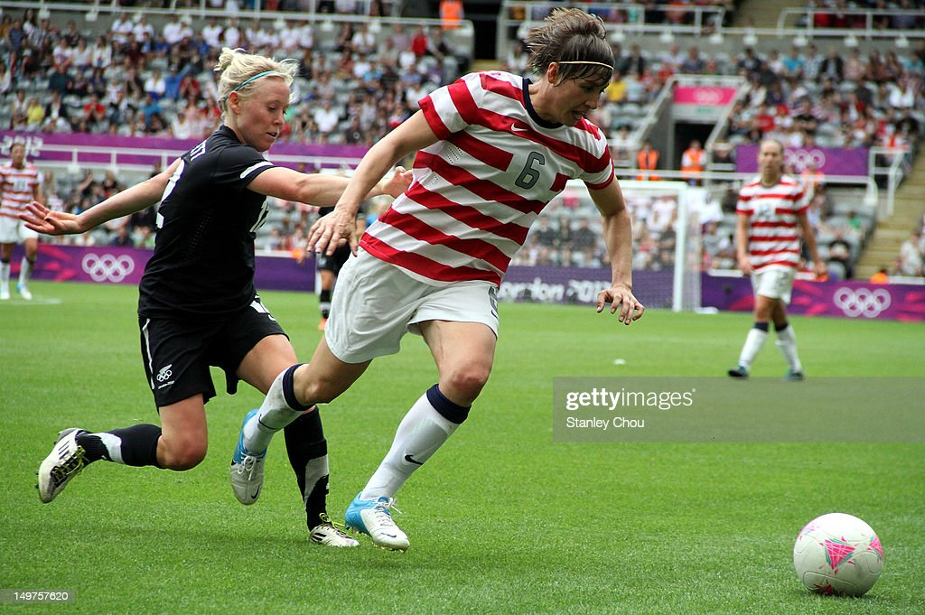 Amy Le Peilbet of the United States in action against New Zealand during the Women's Football Quarter Final match between United States and New Zealand, on Day 7 of the London 2012 Olympic Games at St James' Park on August 3, 2012 in Newcastle upon Tyne, England.