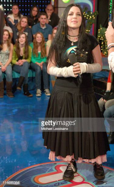 Amy Lee of Evanescence during Michelle Trachtenberg Amy Lee of Evanescence and Cartel Visit MTV's TRL December 21 2006 at MTV Studios Times Square in...
