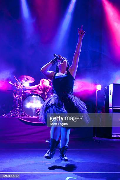 Amy Lee of Evanescence performs during the Carnival of Madness tour 2012 at DTE Energy Music Theater on August 24 2012 in Clarkston Michigan
