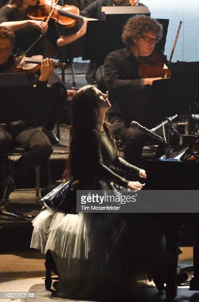 Amy Lee of Evanescence performs during the 'Synthesis Tour' at Shoreline Amphitheatre on September 5 2018 in Mountain View California