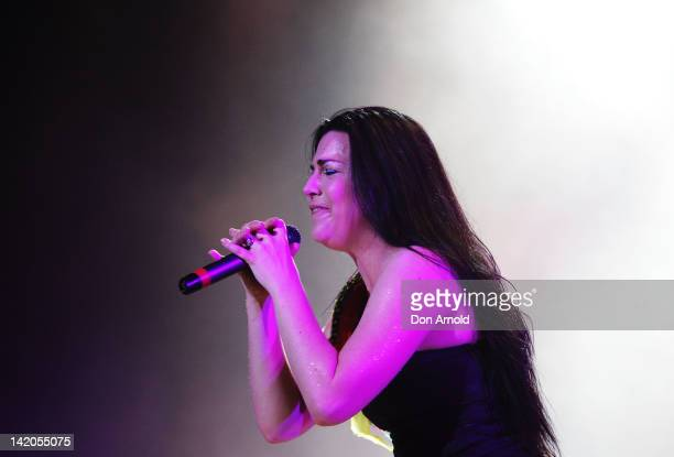 Amy Lee of Evanescence performs live on stage at Sydney Entertainment Centre on March 29, 2012 in Sydney, Australia.