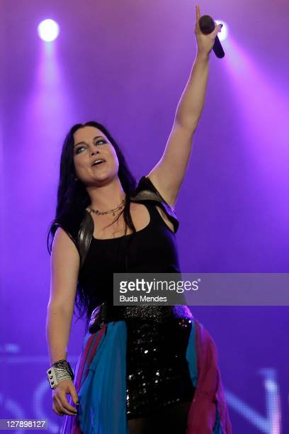 Amy Lee of Evanescence performs on stage during a concert in the Rock in Rio Festival on October 02 2011 in Rio de Janeiro Brazil Rock in Rio...