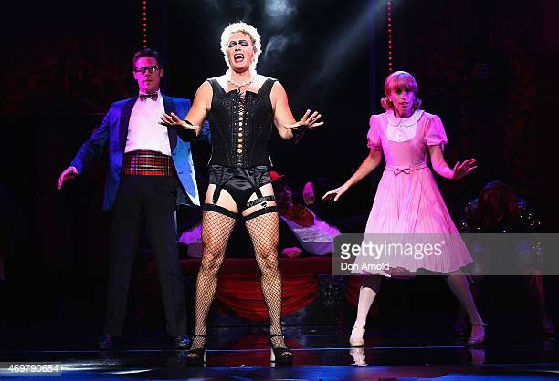 Amy Lehpamer plays the role of Janet Stephen Mahy the role of Brad and Craig McLachlan the role of Frank N Furter during a media call for The Rocky...