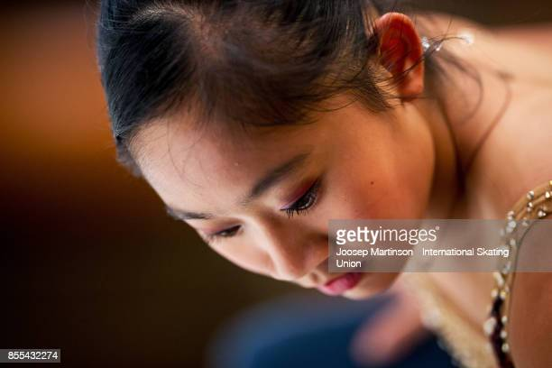 Amy Lin of Taipei looks on in the Ladies Short Program during the Nebelhorn Trophy 2017 at Eissportzentrum on September 29 2017 in Oberstdorf Germany