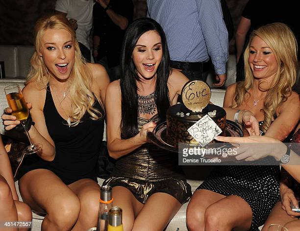 Amy Lynn Dover, Jayde Nicole and Kelly Carrington celebrates Jayde Nicole's birthday at Eve Nightclub on February 5, 2010 in Las Vegas, Nevada.