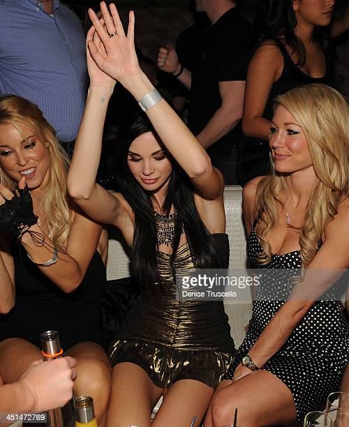 Amy Lynn Dover Jayde Nicole and Kelly Carrington celebrates Jayde Nicole's birthday at Eve Nightclub on February 5 2010 in Las Vegas Nevada