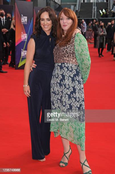 """Amy Manson and Elizabeth Berrington attend the UK Premiere of """"Spencer"""" during the 65th London Film Festival at The Royal Festival Hall on October 7,..."""