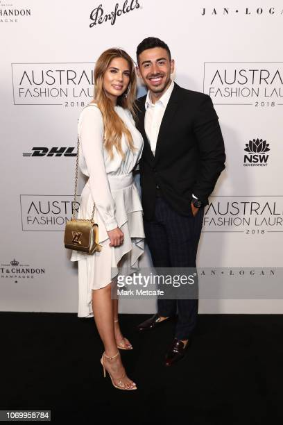 Amy Maree Coomber and Jono Castano attend the 2018 Australian Fashion Laureate Awards on November 20 2018 in Sydney Australia