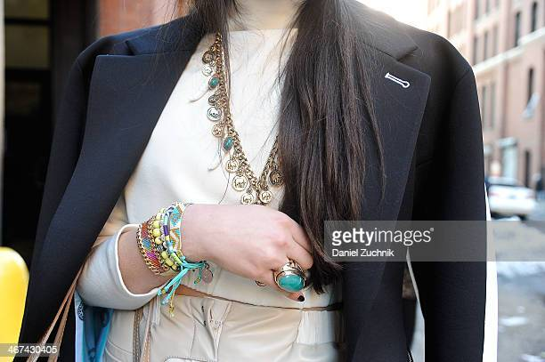 Amy Marietta is seen outside the Costello Tagliapietra show wearing Samantha Wills necklace Big Bang NY ring and Kim and Zozi bracelets on February 6...