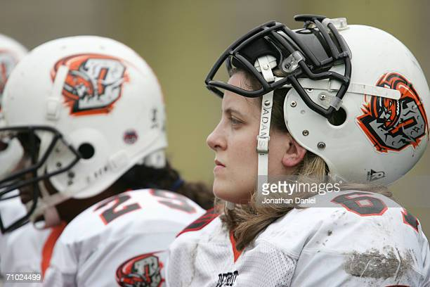 Amy Martin of the Detroit Demolition looks on from the sidelines against the Chicago Force during an Independent Women's Football League game on May...