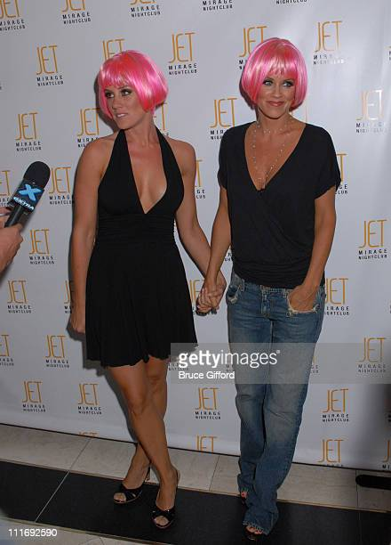 Amy McCarthy and Jenny McCarthy during Jenny McCarthy Hosts Sister Amy's Birthday Celebration at JET Mirage Nightclub in Las Vegas Nevada United...